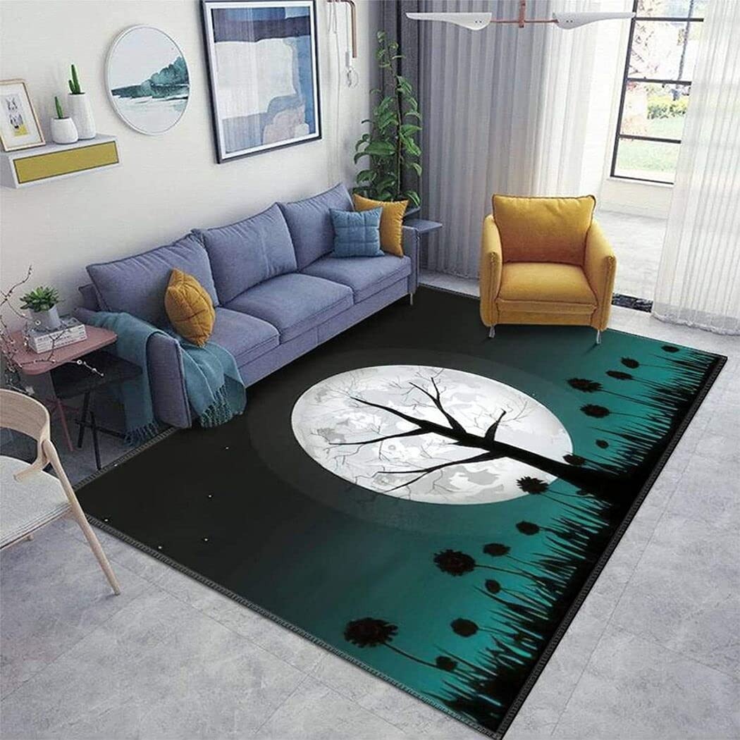 Super-cheap Big NEW before selling Full Moon and Silhouette A Christmas Dead Tree Rug for