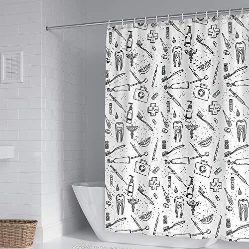 Duschvorhang 100prozent Polyester Anti Schimmel Wasserdicht Waschbar Beschwertem Saum Putz Dir Die Zähne Duschvorhang Gewicht 240X200 cm Mit 12 Duschvorhangringen Für Dusche Und Badewanne