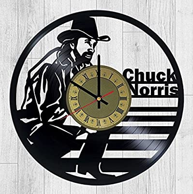 STP Cat Chuck Norris Vinyl Wall Clock - Walker, Texas Ranger Handmade Artwork - Home