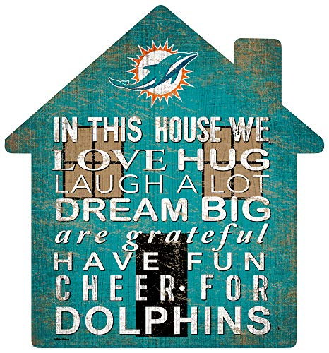 Fan Creations NFL Miami Dolphins Unisex Miami Dolphins House Sign, Team Color, 12 inch