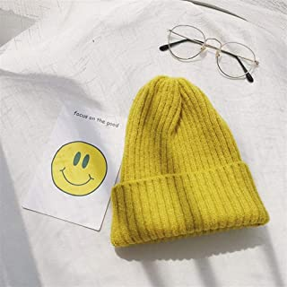 Lei Zhang Ms. Autumn and Winter Wool Cap Knitted hat Female Winter hat Solid Color (Color : Turmeric, Size : Adjustable)