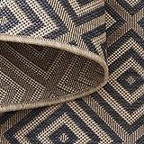 Teppich Wölkchen Outdoor-Teppiche für Draußen   Balkon Terrasse Garten Küche   Wetterfest Wasserfest und UV-Beständig mit ÖKO-TEX 100   Jeans Blau - Raute - 120 x 170 cm - 2