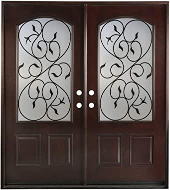 Fiberglass Double Front Door - Wrought Iron Glass Window Come with Jambs Knocked Down Prehung Finished in Dark MahoganyFMVAL