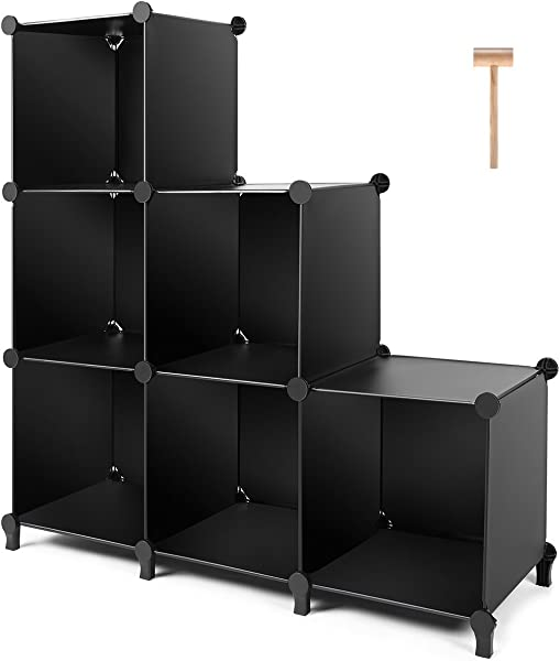 TomCare Cube Storage 6 Cube Closet Organizer Storage Shelves Cubes Organizer DIY Plastic Closet Cabinet Modular Book Shelf Organizing Storage Shelving For Bedroom Living Room Office Black