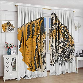GUUVOR Tiger Blackout Curtain Set Sketch Drawing of Bengal Royal Animal Carnivore Large Cat with Vibrant Colors Kindergarten Shading Insulation W108 x L72 Inch Ligth Brown Black
