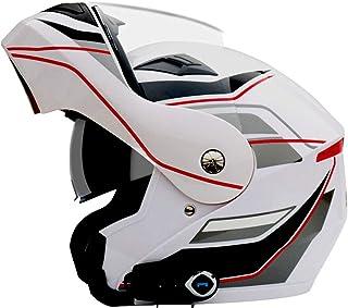 LTOOTA Casco Completo Motocicleta Bluetooth Casco Modular Abierto Parasol Antivaho Casco Bluetooth Micrófono Integrado Altavoz Incorporado