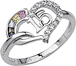 The World Jewelry Center .925 Sterling Silver Rhodium Plated Sweet 15 Heart Ring