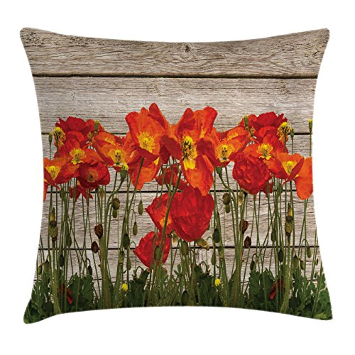 Ambesonne Rustic Throw Pillow Cushion Cover, Close Line of Poppy Petals Field Meadow Summer Holiday Sun Plant Floral Theme, Decorative Square Accent Pillow Case, 16' X 16', Dark Violet