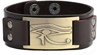 Lemegeton Egyptian The Eye Of Horus Metal Craft Connector Cuff Wristband Adjustable Wrap Bracelets
