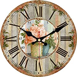 ShuaXin 6 Inch Small Wall Clocks for Kids,Wood Tuscan Flower Leaf Style Room Decorative Wall Clock,Quartz Non Ticking Wall Clock for Dining Room Decor
