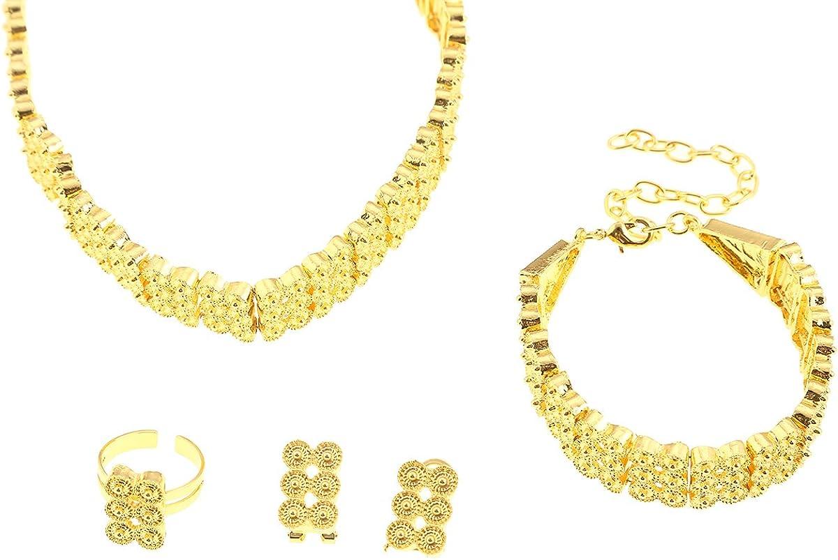 CB Gold Jewelry Ethiopian Choker Necklace Earrings Ring Bracelet Eritrea Habesha Wedding Set