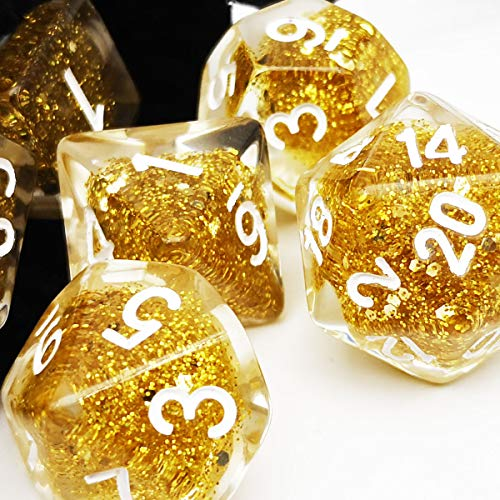 Haxtec Glitter DND Dice Set 7PCS Polyhedral D D Dice for Roleplaying Dice Games as Dungeons and Dragons-Gold Glitter Dice