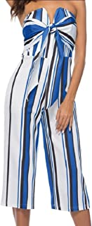 Maweisong Women's Strapless Bow Stripe Wide Leg Pants Rompers Jumpsui