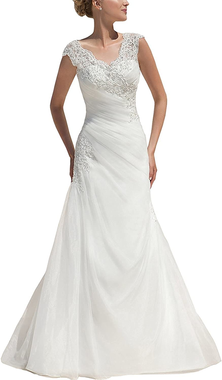 Alexzendra Women's Organza Beaded V Neck Wedding Dresses For Bride Long Bridal Gowns