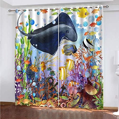WLHRJ Cortina Opaca en Cocina el Salon dormitorios habitación Infantil 3D Impresión Digital Ojales Cortinas termica - 280x245 cm - Ballena oceánica Acuarela