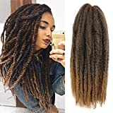 6 Packs Marley Twist Braiding Hair 18 inch Afro Kinky Curly Hair Extension for Twists Ombre Color Synthetic Fiber Marley Braids Hair for Faux Locs (T1B/27#)