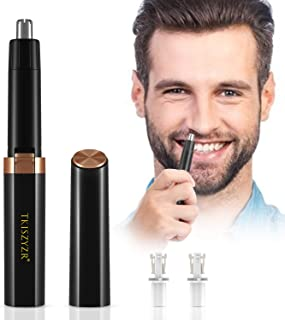 Ear and Nose Hair Trimmer for Men & Women, Upgraded Electric Nose Hair Trimmers/Clippers Removal, Wet/Dry, PX67 Waterproof, Mute Motor, Double-Edge Stainless Steel Blades(Black)