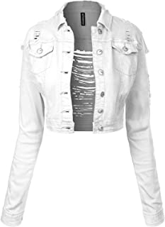 BEYONDFAB Women's Color Zipper Long Sleeve Cropped Denim Jacket