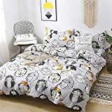 ORIHOME Set Love Lazy Cute cat 3 Piece Bedding Sets One Duvet Cover Without Comforter Two Pillowcase– Soft Microfiber Teen Bedding for Bedroom(Without Quilt) (Lazy Cat, Grey, Full 80'x86')