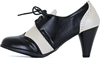 Guilty Shoes - Women's Mary Jane Oxford Kitten Heel Pump - Wing Tip Comfortable Retro Pumps