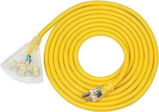 DEWENWILS 15 FT 12/3 Gauge Indoor/Outdoor Tri-Tap Extension Cord Splitter, SJTW 15 Amp Yellow Outer Jacket Contractor Grad...