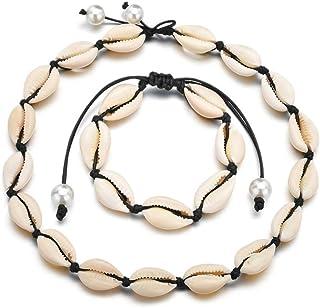 Timetries Cowrie Shell Choker Necklace for Women Seashell Strand Bracelets Summer Hawaiian Jewelry Set Beads Black Chain