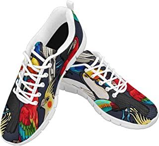 Zenzzle Women's Lightweight Breathable Shoes Womens Walking Running Sneakers Macaw and Toucan Pattern Size US6-12 Grey Blue