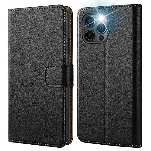 HOOMIL iPhone 12 Hülle Leder Tasche Flip Hülle Schutzhülle für iPhone 12 Pro Hülle Leder/Handyhülle für iPhone 12/12 Pro Schwarz