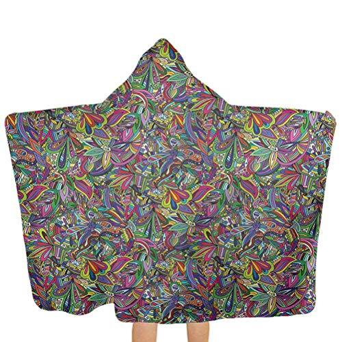 ZHSL Badetücher mit Kapuze Bunte, florale Strudel Schmetterlinge Swim Pool Coverup Poncho Cape Perfekt für Mädchen und Jungen 51,5x31,8 Zoll