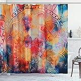 ENJOHOS Duschvorhang-Set mit Mandala-Blumenmuster, mit Haken, wasserdicht, indisch, böhmisch, grün, blau, chic, Badezimmervorhang (180 x 180 cm)