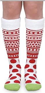 Girls Christmas Red White Dot Stripe Fuzzy Cuff Novelty Knee High Socks 1 Pair Pack