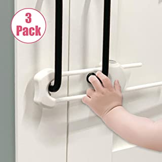 EUDEMON (3 Pack) U Shaped Kids Proofing Cupboard & Cabinet Locks for Knobs & Handles in Kitchen,Bathroom and etc.Easy to Install, no Tools Need or Drill