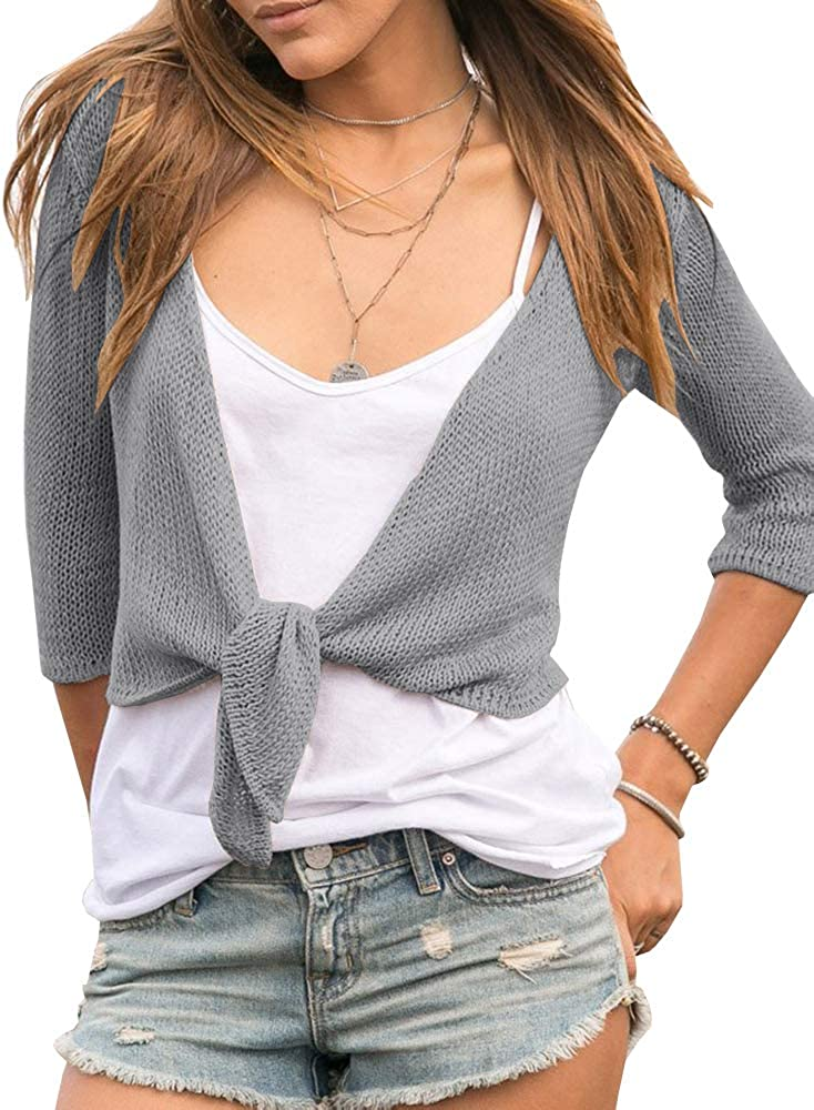 Tutorutor Womens Bolero Tie Front Shrug Cardigans Lightweight 3/4 Sleeve Crochet Loose Knitted Fall Crop Sweater Tops