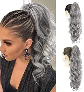 AQINBEL Drawstring Ponytail Extensions 24 Inches Body Wave Clip in Drawstring Pony Tail Synthetic Long Loose Wavy Ponytail Hairpieces for Women(Grey#)