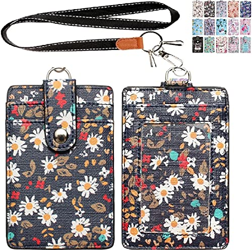 Lanyard ID Badge Holder Case PU Leather Credit Card Wallet with 1 ID Window & 2 Card Slots & 2 Key Chains and Detachable Neck Strap for ID Driver Licence & Women Teen Kids Girls Office (Navy Floral)
