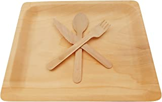 Wooden Disposable Cutlery Kit of 50 Plates(10.5 inch),50 Forks, 50 Spoons, 50 Knives, 6 inch Utensils,Biodegradable, Compostable Dinnerware,Wedding,Dinner,Catering & Party Supplies(Pack of 200)