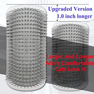 【Upgraded Version】Cat Dog Self Groomer Brush with Catnip(Longer and Softer)4 pack Dog Cat Wall Corner Grooming Combs, Scratchers and Brushes for Short Long Fur Cats,Softer Massage Toy for Kitten Puppy