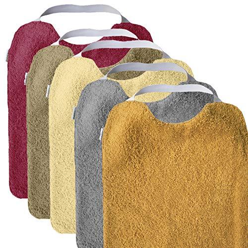 Mimuselina Pack 5 Baberos | Pack Sunset Ideal para Guardería, Interior Impermeable, Goma en Cuello para Fomentar Autonomía e Independencia, de Rizo, 31 x 25 cm