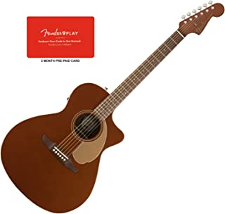 Fender Newporter Player Rustic Copper Acoustic-Electric Guitar w/Fender Play 3-M