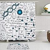 Juego de cortinas y tapetes de ducha de tela,Ciencia abstracta Física Fórmulas de la molécula de ADN Análisis químico,cortinas de baño repelentes al agua con 12 ganchos, alfombras antideslizantes