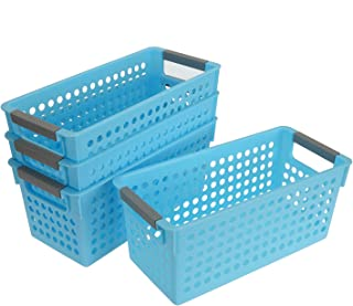 Bekith 4 Pack Plastic Storage Organizer Baskets Bins with Gray Handle, Blue