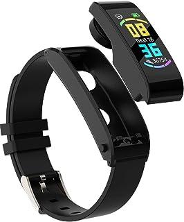 Fitness Tracker Pulsera Inteligente Y Auriculares Bluetooth InaláMbricos 2 En 1 , Pulsera Actividad Inteligente Impermeable Pulsera Deportiva Monitores de Actividad con Pulsómetro y Presión Arterial, Monitor De SueñO.