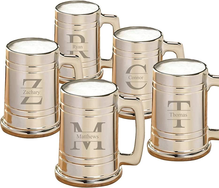 Personalized Gunmetal Beer Mugs Personalized Beer Mugs Stamped Monogram Set Of 5