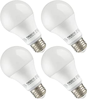 TORCHSTAR Garage Door Opener LED Bulb, 100W Equivalent LED A19 Light Bulb, 1600 Lumens Ultra-Bright 5000K Daylight, Non-Dimmable, Standard E26 Medium Base, UL-Listed, Damp Location Rated, Pack of 4