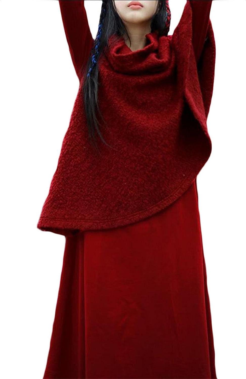 Gocgt Women Two Pieces Turtleneck Cloak Cape Tops Bodycon Midi Skirt Suit Set Outfits
