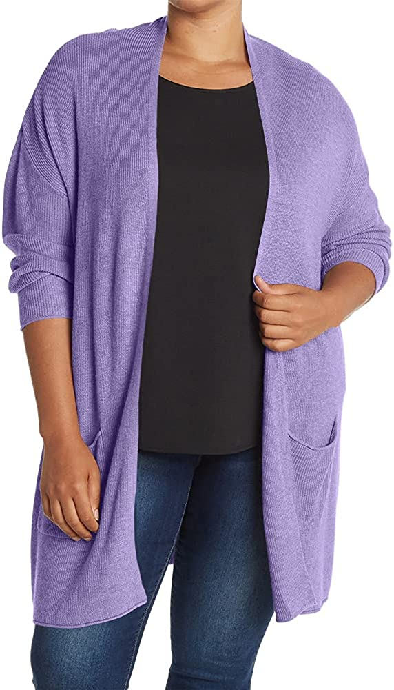 Genayge Women's Plus Size Lightweight Cardigan Sweaters Open Front Knit Outerwear with Pockets