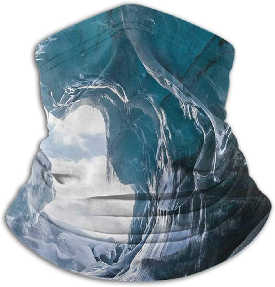 Neck Gaiters For Men Cave Ski Tube Scarf Inside of the Famous Vatnajokull Glacier in Iceland with Icicles Charcoal Grey Pale Blue White