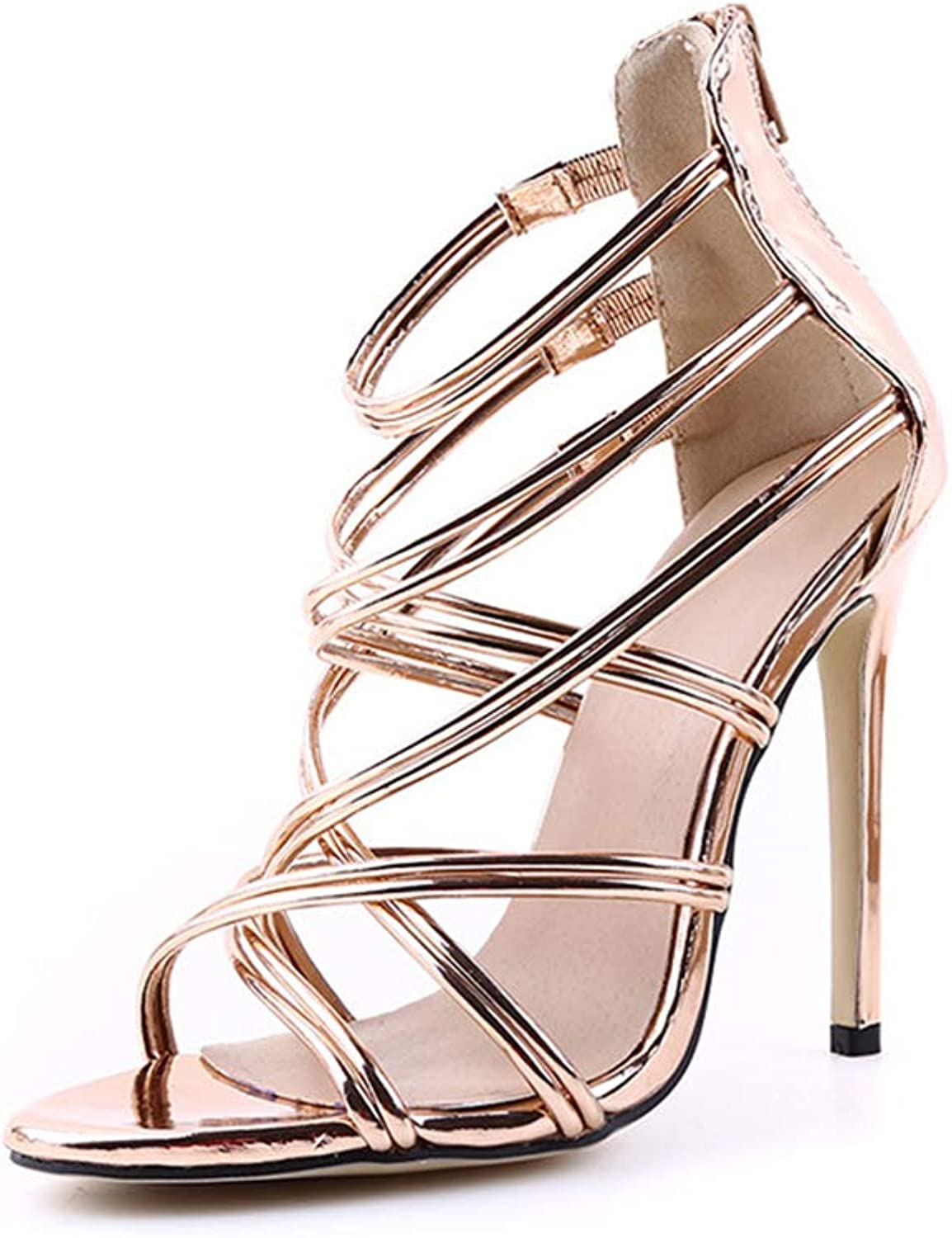 CHENGLing Womens Comfortable Strappy Chunky Block Ankle Strap Open Toe Heeled Sandals