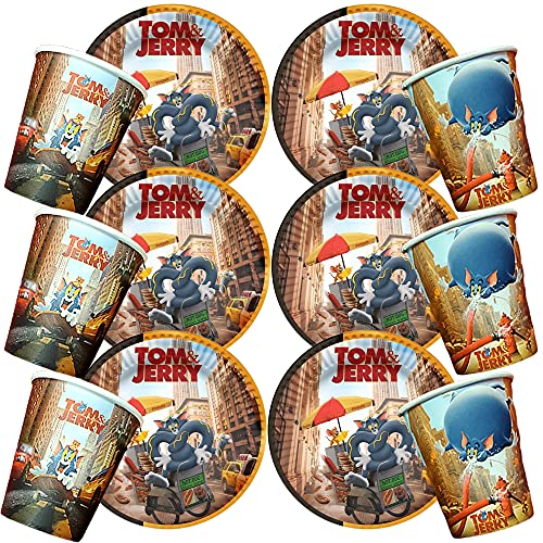12PC TOM AND JERRY INCLUDES 6PC CAKE PLATES + 6PC KIDS CUPS PARTY SUPPLIES FAVOR DECORATIONS DECOR THEME IDEA FUN CELEBRATION HAPPY BIRTHDAY FAVO GIFT CENTERPIECE DANCE VIDEO GAME MUSIC