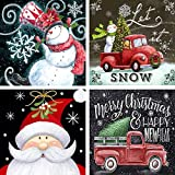 Acerich 4 Pack Christmas Diamond Painting Kit, 5D Full Drill Paint by Number Kits, Diamond Rhinestone Painting for Adults and Beginner Diamond Arts Craft, 12X 12 Inch